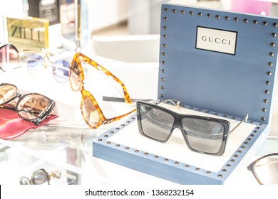 Geneva, Switzerland, March 09, 2019, Gucci sunglasses on display for sale, Eyewear Collections, Elegant, timeless and original, glasses and sunglasses Gucci created for men and women