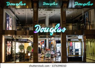 Geneva, Switzerland, March 09, 2019, perfumery Douglas window store with premium brand products, perfumery chain Douglas focuses on retailing various premium perfume, fragrance, care, makeup