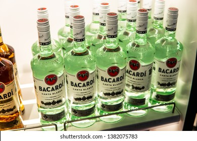 Geneva, Switzerland, March 09, 2019, Bottles of Bacardi Carta Blanca superior white rum on display for sale, Duty free, Airport, Bacardi is spirits company known for its eponymous white rum