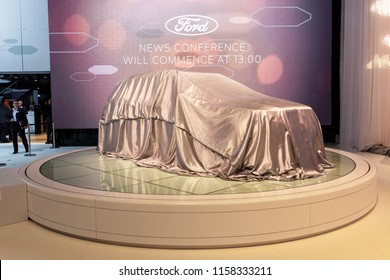 GENEVA, SWITZERLAND - MARCH 1, 2016: New Ford model car veiled at the 86th International Geneva Motor Show.
