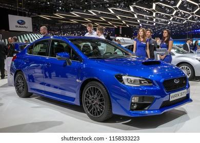 GENEVA, SWITZERLAND - MARCH 1, 2016: Subaru WRX STI sports car showcased at the 86th Geneva International Motor Show.