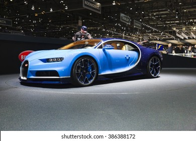 Geneva, Switzerland - March 1, 2016: 2016 Bugatti Chiron presented on the 86th Geneva Motor Show in the PalExpo