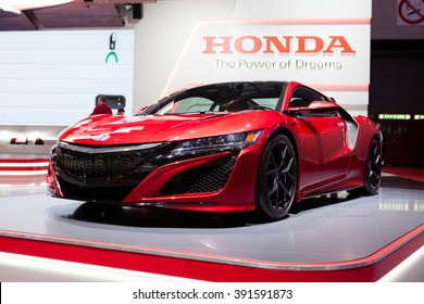Geneva, Switzerland - March 1, 2016: Honda NSX, front-side view presented on the 86th Geneva Motor Show in the PalExpo
