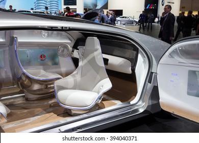 GENEVA, SWITZERLAND - MARCH 1, 2016: Interior of the Mercedes Benz autonomous concept car at the 86th International Geneva Motor Show in Palexpo, Geneva.
