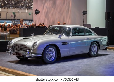 GENEVA, SWITZERLAND - MARCH 1, 2016: 1964 Aston Martin DB5 classic sports car showcased at the 86th Geneva International Motor Show.