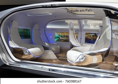 GENEVA, SWITZERLAND - MARCH 1, 2016: Interior of the Mercedes Benz autonomous concept car at the 86th International Geneva Motor Show in Palexpo, Geneva.