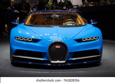 GENEVA, SWITZERLAND - MARCH 1, 2016: Bugatti Chiron sports car showcased at the 86th Geneva International Motor Show.