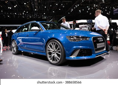 GENEVA, SWITZERLAND - MARCH 1: Geneva Motor Show on March 1, 2016 in Geneva, Audi RS6, side-front view