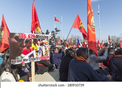GENEVA, SWITZERLAND -Â?Â? MARCH 10, 2014: Protest by Eelam Tamils outside the offices of the UN. The protestors demand justice and an independent international investigation into genocide.