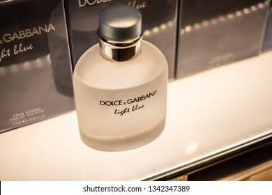 Geneva, Switzerland, March 10, 2019: Dolce & Gabbana perfume on the shop display, Dolce & Gabbana is Italian luxury fashion house founded by Italian designers Domenico Dolce and Stefano Gabbana.