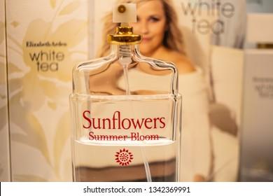 Geneva, Switzerland, March 10, 2019: ELIZABETH ARDEN SUNFLOWERS perfume on the shop display for sale, fragrance created by Elizabeth Arden Co.