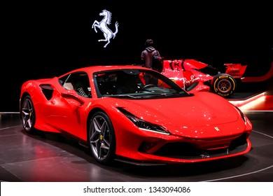 Geneva, Switzerland - March 10, 2019: Red Italian supercar Ferrari F8 Tributo presented at the annual Geneva International Motor Show 2019.