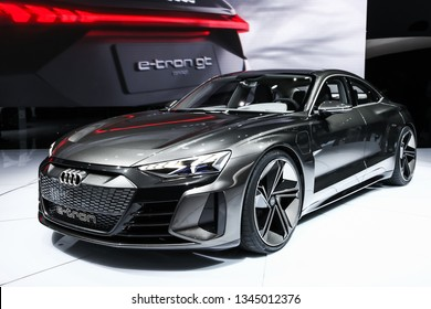 Geneva, Switzerland - March 10, 2019: Electric car Audi E-Tron GT presented at the annual Geneva International Motor Show 2019