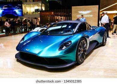 Geneva, Switzerland - March 10, 2019: Concept car Aston Martin Vanquish Vision presented at the annual Geneva International Motor Show 2019