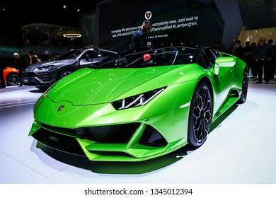 Geneva, Switzerland - March 10, 2019: Sportscar Lamborghini Huracan Evo Spyder presented at the annual Geneva International Motor Show 2019