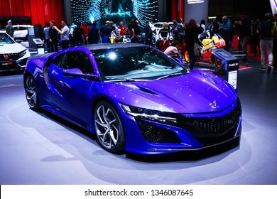 Geneva, Switzerland - March 10, 2019:  Sports car Honda NSX presented at the annual Geneva International Motor Show 2019.