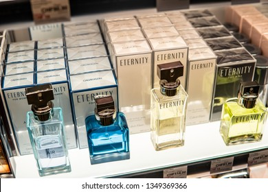 Geneva, Switzerland, March 10, 2019: Calvin Klein Eternity Air perfume on the shop display for sale, fragrance created by Calvin Klein