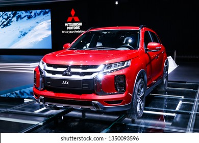Geneva, Switzerland - March 10, 2019: Red motor car Mitsubishi ASX presented at the annual Geneva International Motor Show 2019.