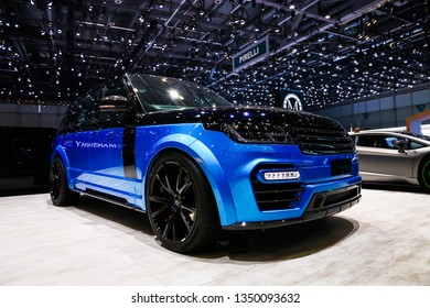 Geneva, Switzerland - March 10, 2019: Mansory tuned Land Rover Range Rover presented at the annual Geneva International Motor Show 2019.