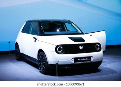Geneva, Switzerland - March 10, 2019: White compact car Honda e Prototype presented at the annual Geneva International Motor Show 2019.