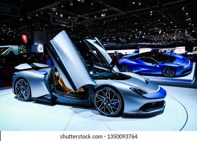 Geneva, Switzerland - March 10, 2019: Electric supercars Pininfarina Battista presented at the annual Geneva International Motor Show 2019.