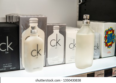 Geneva, Switzerland, March 10, 2019: CK Calvin Klein All One perfume on the shop display for sale, fragrance created by Calvin Klein