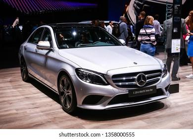 Geneva, Switzerland - March 10, 2019: Motor car Mercedes-Benz W205 C220d presented at the annual Geneva International Motor Show 2019.