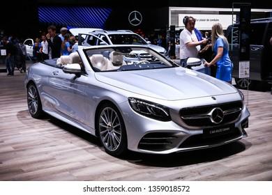 Geneva, Switzerland - March 10, 2019: Luxury convertible car Mercedes-Benz A217 S560 presented at the annual Geneva International Motor Show 2019.