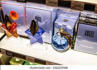 Geneva, Switzerland, March 10, 2019: Thierry Mugler Angel perfume on the shop display for sale, fragrance created by Thierry Mugler, French fashion designer.