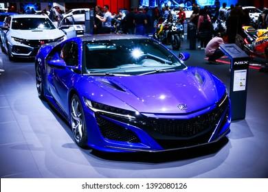 Geneva, Switzerland - March 10, 2019: Blue sportscar Honda NSX presented at the annual Geneva International Motor Show 2019.