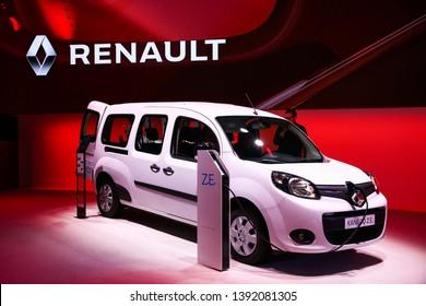 Geneva, Switzerland - March 10, 2019: Electric van Renault Kangoo Z.E. presented at the annual Geneva International Motor Show 2019.