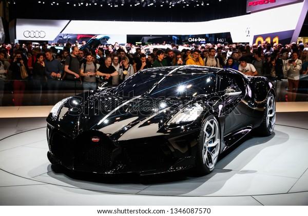 Geneva, Switzerland - March 10, 2019:  The most expensive luxury car in the world Bugatti La Voiture Noire presented at the annual Geneva International Motor Show 2019.