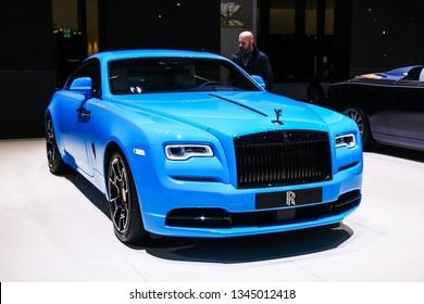 Geneva, Switzerland - March 11, 2019: Luxury car Rolls-Royce Wraith presented at the annual Geneva International Motor Show 2019
