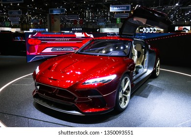 Geneva, Switzerland - March 11, 2019: Electric supercar concept Italdesign DaVinci presented at the annual Geneva International Motor Show 2019.