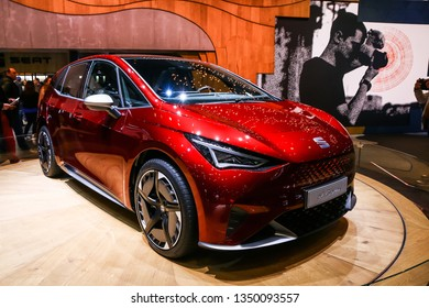 Geneva, Switzerland - March 11, 2019: Electric vehicle concept SEAT el-Born presented at the annual Geneva International Motor Show 2019.