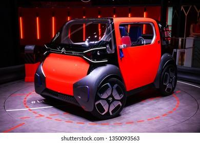 Geneva, Switzerland - March 11, 2019: Concept car Citroen Ami One presented at the annual Geneva International Motor Show 2019.