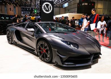 Geneva, Switzerland - March 11, 2019: Mansory tuned Lamborghini Aventador Carbonado presented at the annual Geneva International Motor Show 2019.