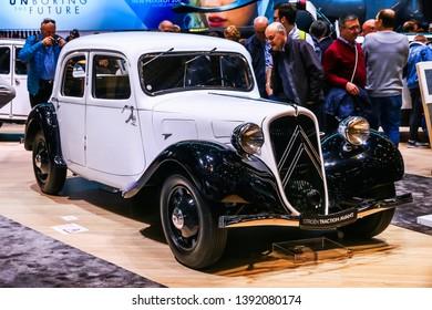 Geneva, Switzerland - March 11, 2019: Retro saloon car Citroen Traction Avant presented at the annual Geneva International Motor Show 2019.
