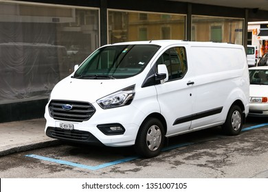 Geneva, Switzerland - March 13, 2019: Cargo van Ford Transit in the city street.
