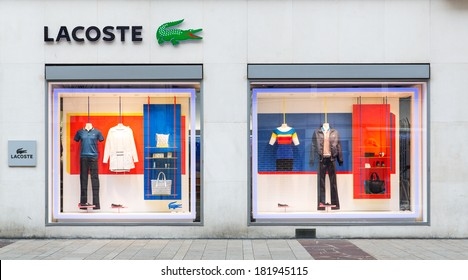 GENEVA, SWITZERLAND - MARCH 16, 2014: A retail outlet for LACOSTE. Lacoste is a French apparel company that sells high-end clothing, most famously tennis shirts.