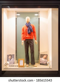 GENEVA, SWITZERLAND - MARCH 16, 2014: A Hawick Cashmere of Scotland store. It commenced production in Trinity mills in 1874 and produced every garment in the same factory for the last 140 years.