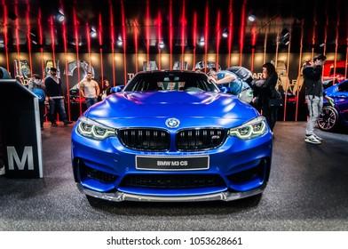 GENEVA, SWITZERLAND - MARCH 17, 2018: BLURRY BMW M3 CS Superfast sports car presented at the 88th Geneva International Motor Show.