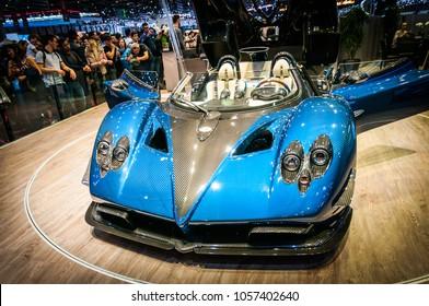GENEVA, SWITZERLAND - MARCH 17, 2018: PAGANI ZONDA HP BARCHETTA Superfast sports car presented at the 88th Geneva International Motor Show.