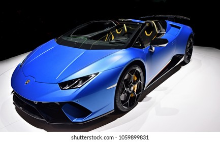 GENEVA, SWITZERLAND - MARCH 17, 2018: Lamborghini Aventador Superfast sports car presented at the 88th Geneva International Motor Show.