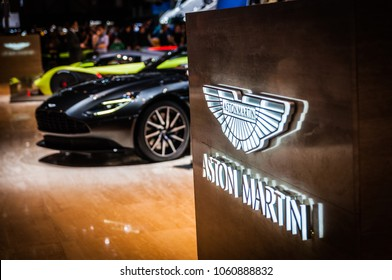 GENEVA, SWITZERLAND - MARCH 17, 2018: ASTON MARTIN BRAND, Superfast sports car presented at the 88th Geneva International Motor Show