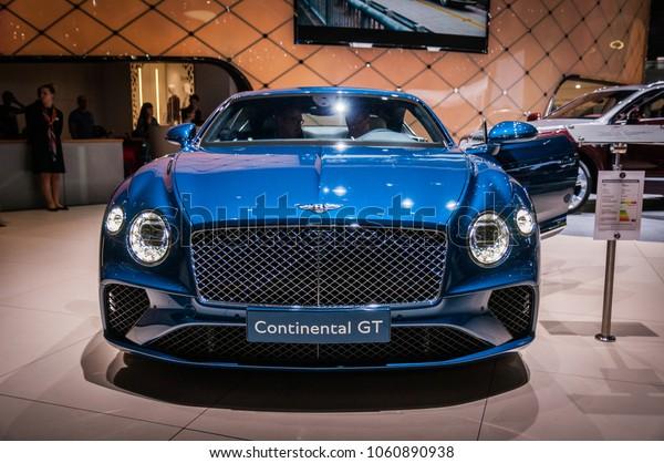GENEVA, SWITZERLAND - MARCH 17, 2018: BENTLEY CONTINENTAL GT Superfast sports car presented at the 88th Geneva International Motor Show