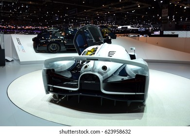 GENEVA, SWITZERLAND - MARCH 18, 2017: The SCG003 Stradale Is the 800-HP Supercar That Could Lap the Nurburgring in 6:30 at 87th Geneva International Motor Show