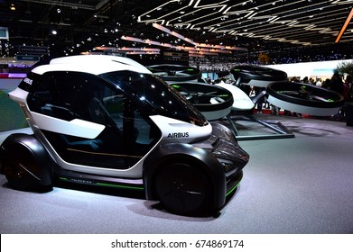 GENEVA, SWITZERLAND - MARCH 18, 2017: Airbus futuristic flying car at 87th Geneva International Motor Show