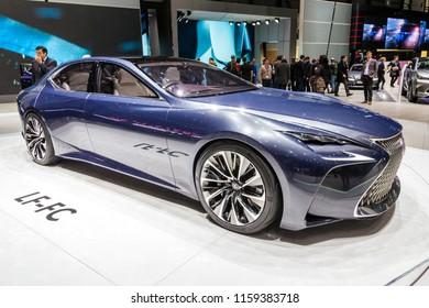 GENEVA, SWITZERLAND - MARCH 2, 2016: Lexus LF-LC Future-Luxury Coupe concept car showcased at the 86th Geneva International Motor Show.
