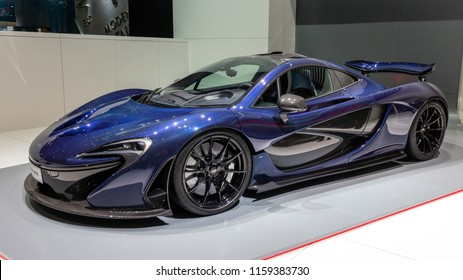 GENEVA, SWITZERLAND - MARCH 2, 2016: McLaren P1 plug-in hybrid sports car showcased at the 86th Geneva International Motor Show.
